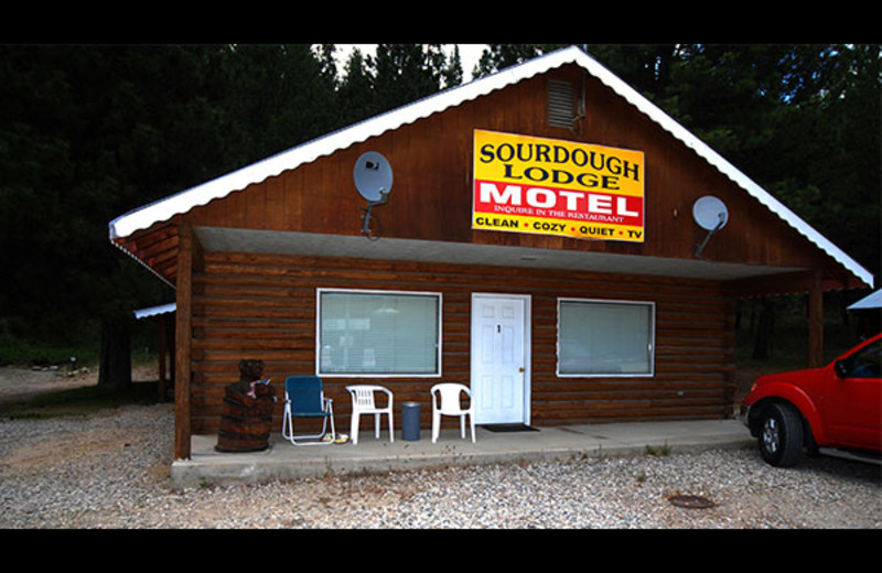 Motel exterior at Sourdough Lodge.