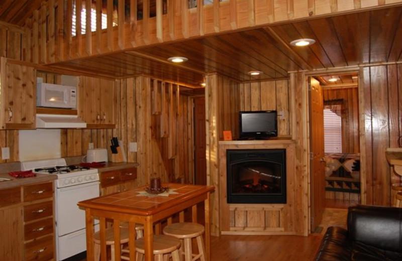 Cabin kitchen at Yogi Bear's Jellystone Park Warrens.