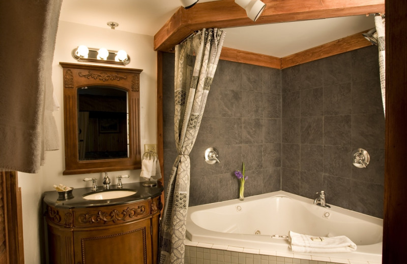 Guest bathroom at La Tourelle Hotel & Spa.