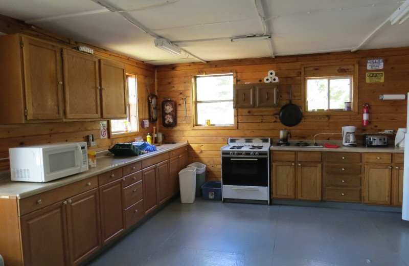 Cabin kitchen at Clark's Resorts & Outposts.