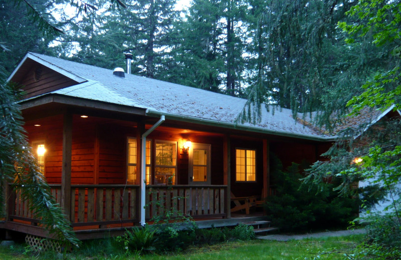 Cabin exterior at Jasmer's Rainier Cabins & Fireplace Rooms.