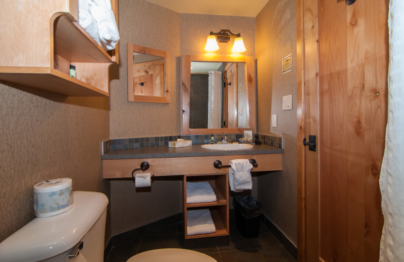 Guest bathroom at The Fox Hotel & Suites in Banff.