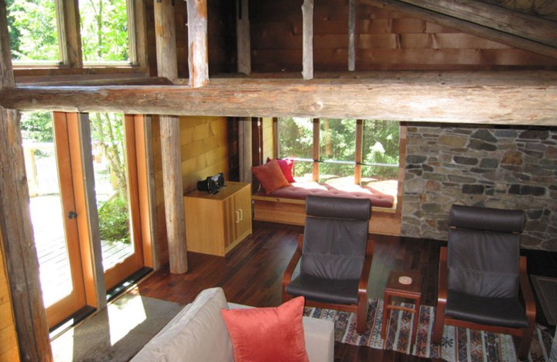 Cabin living room at Deep Forest Cabins.