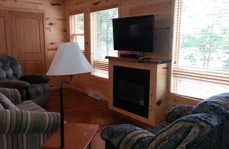 Cabin living room at Johnson's Resort.