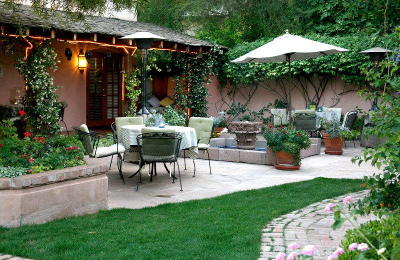 Patio at PepperTrees Bed and Breakfast Inn.