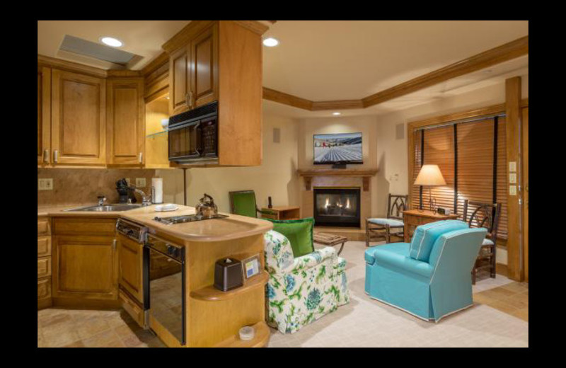 Guest living room and kitchen at Chateau Beaver Creek.