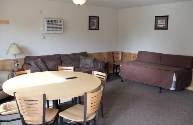 Cabin living room at Ballard's Resort.