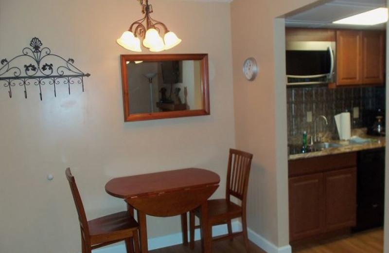 Rental dining area at Oak Square Condos.