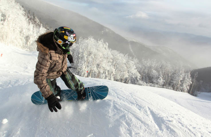 Snowboarding at The Whiteface Lodge.