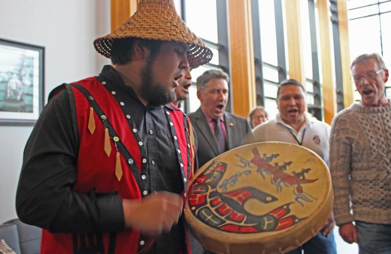 Native story telling at Lund Resort at Klah ah men.