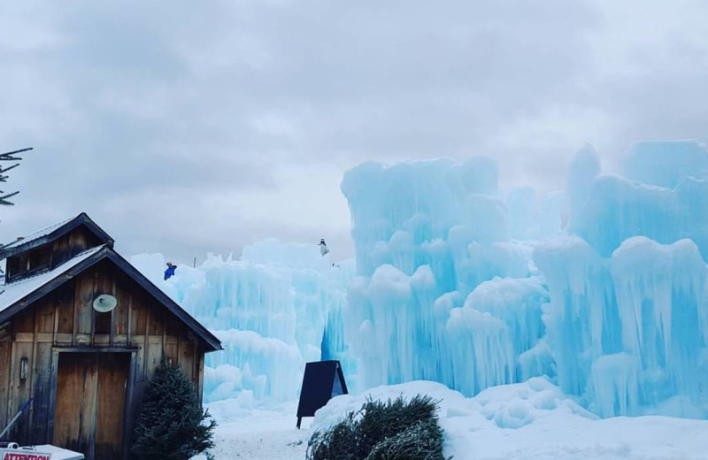 Ice castle at Riverbank Motel & Cabins.