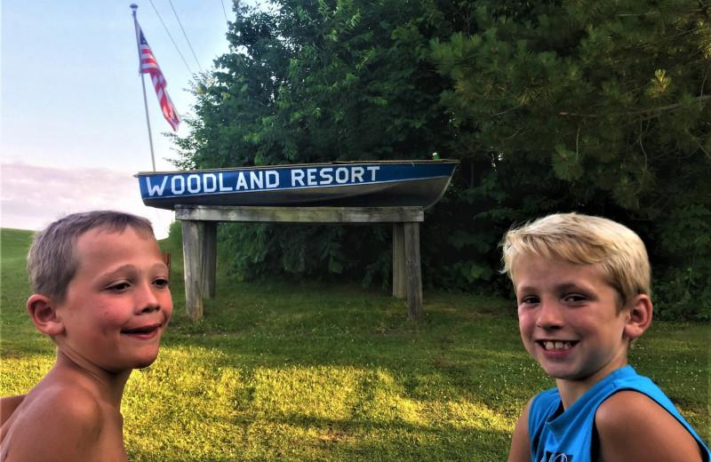 Sign at Woodland Resort.