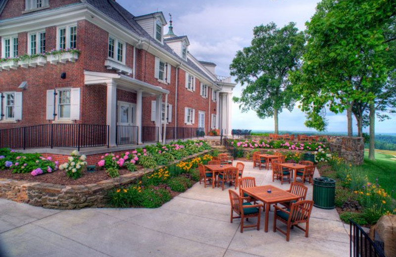 Patio seating at French Lick Resort.