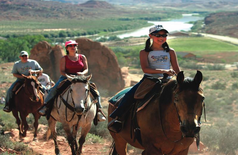 Horseback riding near Big Horn Lodge.