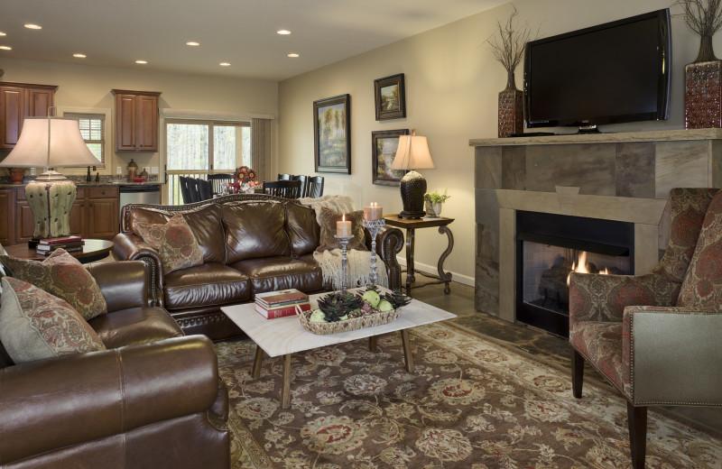 Cabin living room at Caryonah Hunting Lodge.