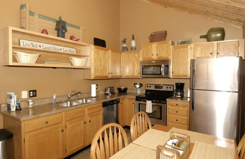 Vacation rental kitchen at Timberline Herzwoods and Northwoods Resort.