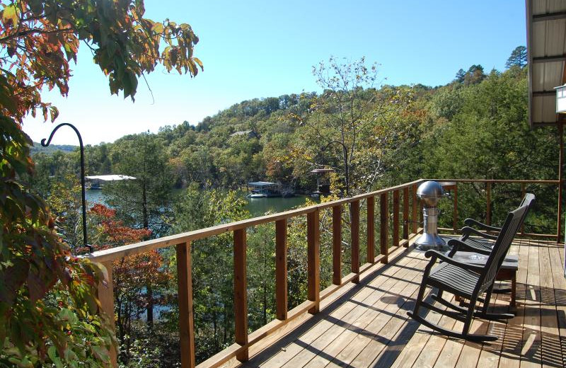 Deck view at Beaver Lakefront Cabins.