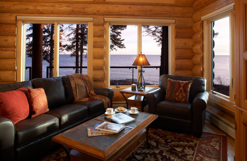 Guest living room at Temperance Landing on Lake Superior.