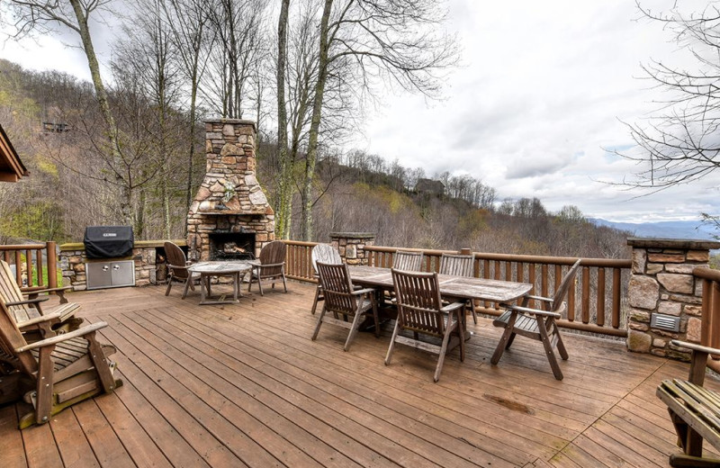 Rental patio at Smoky Mountain Retreat Realty.