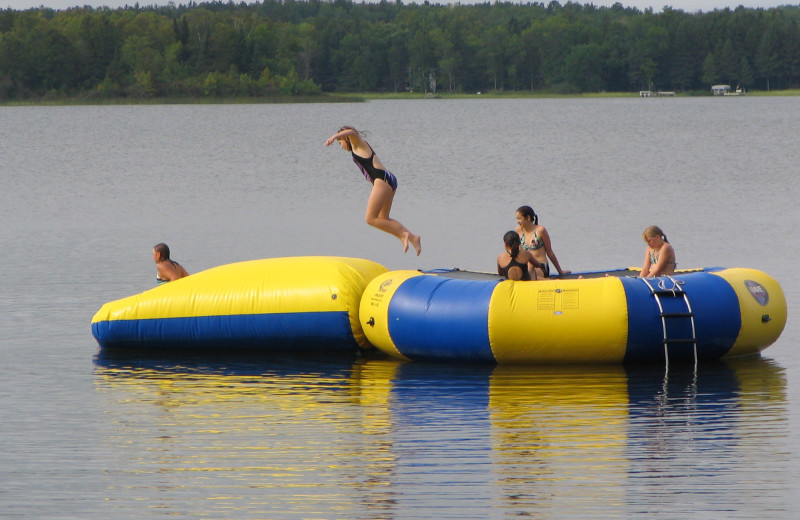 Water trampoline with a launch at Two Inlets Resort.