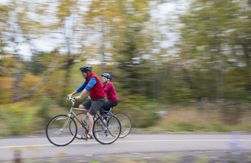 Biking at Lutsen Resort on Lake Superior.