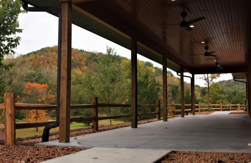 Rustic Hearth Event Center porch at at Cedar Valley Resort.