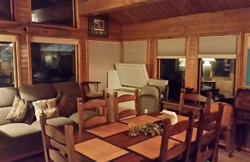 Guest dining room at Kenai River Drifters Lodge.