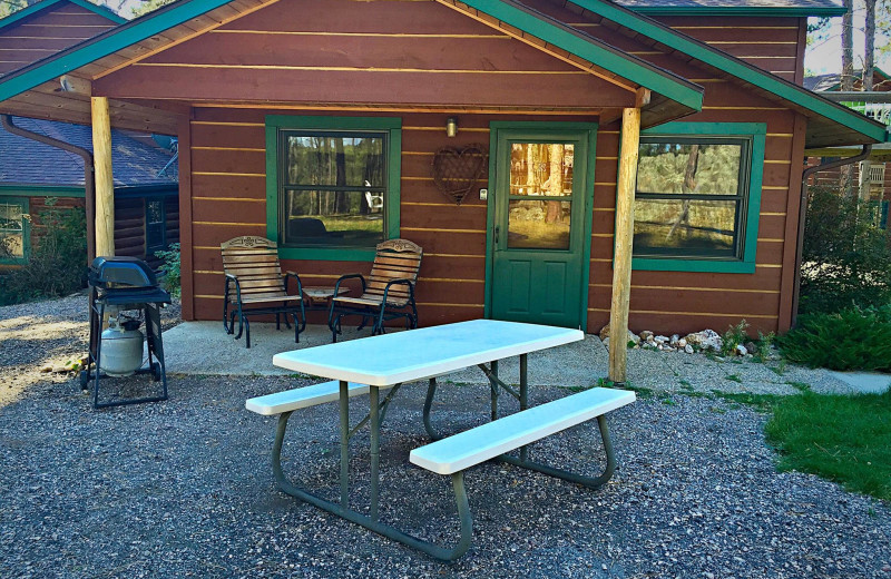 Cabin patio at Silver Mountain Resort and Cabins.