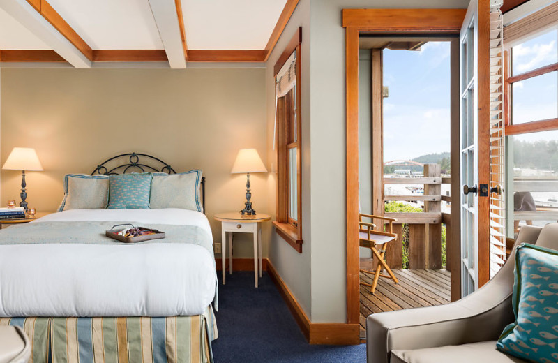 Our queen rooms have a private balcony overlooking the Swinomish Channel.
