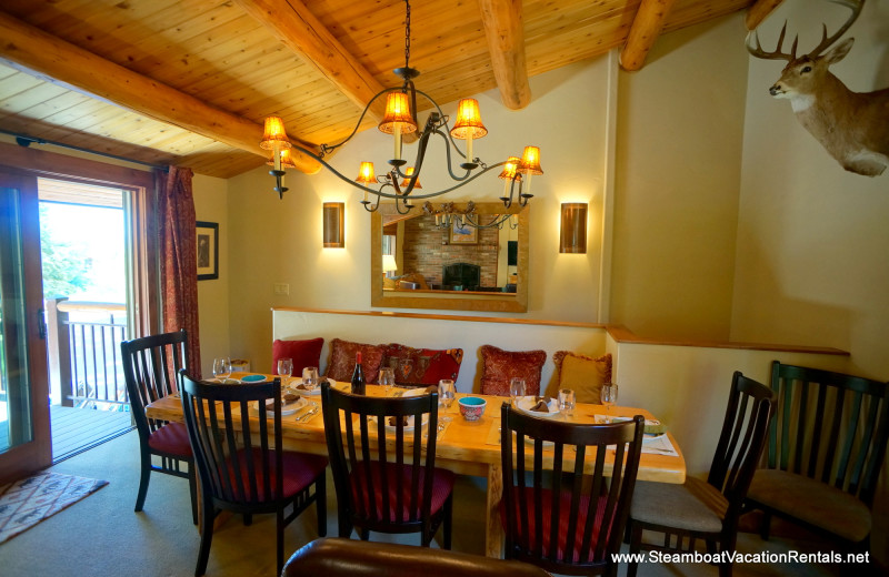 Rental dining table at Steamboat Vacation Rentals.