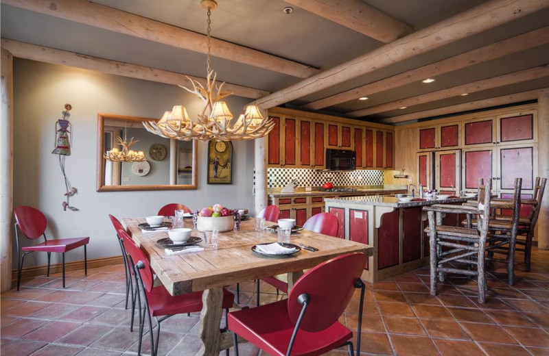 Rental kitchen and dining at Canyon Services Vacation Rentals.