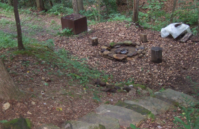 Cabin fire pit at Creeks Crossing Cabins.