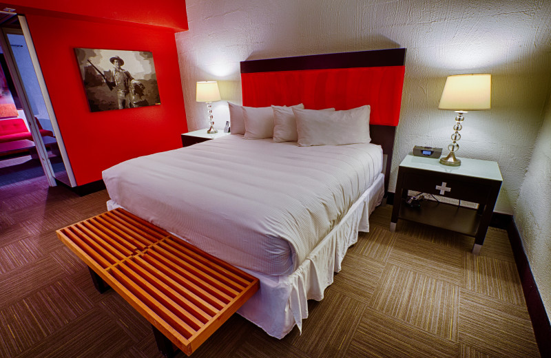 Guest room at The Clarendon Hotel.