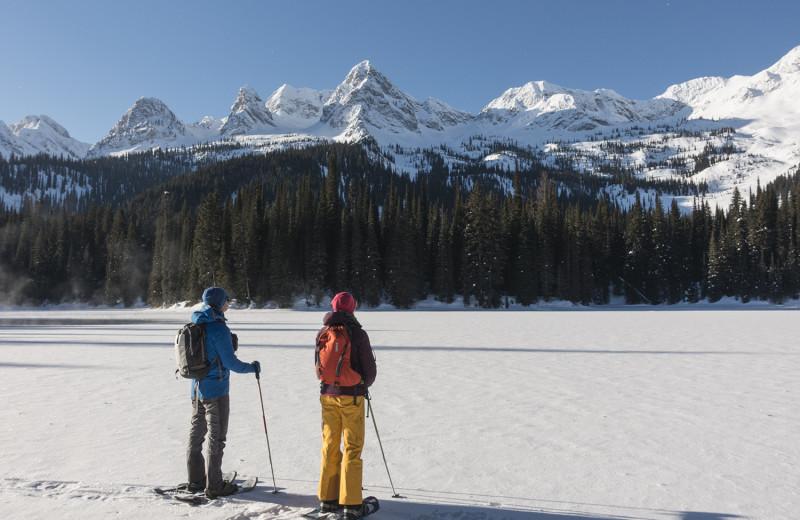 Snow shoeing at Island Lake Lodge.