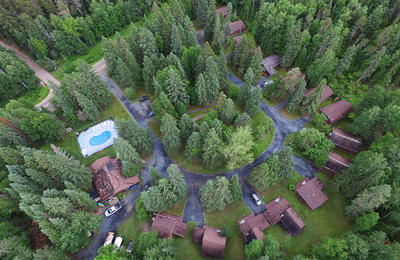 Aerial view of Tallpine Lodges.