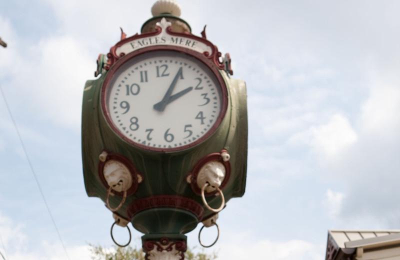 Clock tower near Eagles Mere Inn.