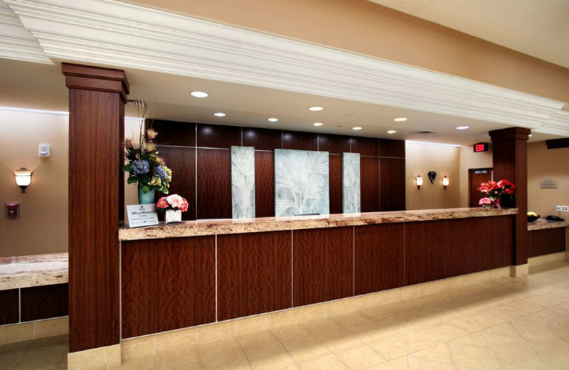 Front desk at Hilton Suites Ocean City Oceanfront.