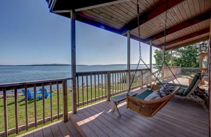 Rental deck at Acadia Cottage Rentals.