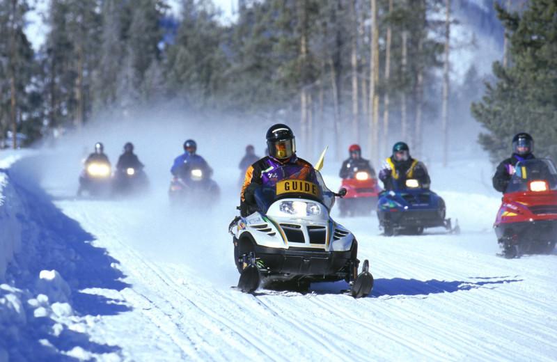 Snowmobiling at St. Bernard Lodge.