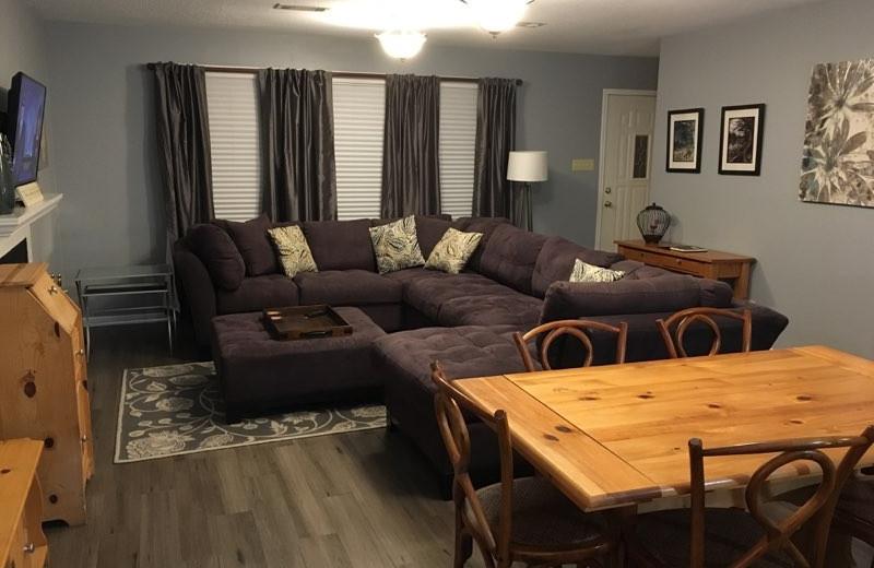 Rental living room at Frio Family Getaway