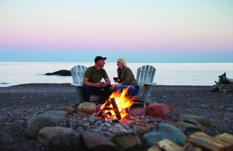 Romantic bonfire at Lutsen Resort on Lake Superior.