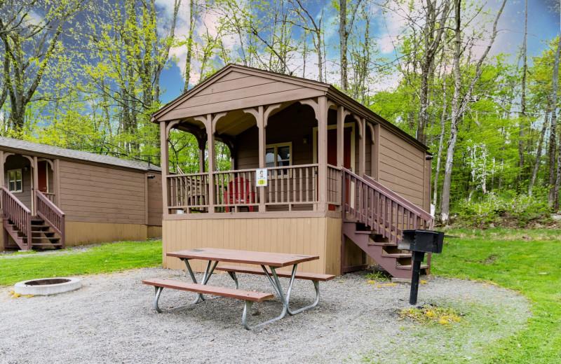 Cabin exterior at Yogi Bear's Jellystone Park™ Camp-Resort in Gardiner, NY.