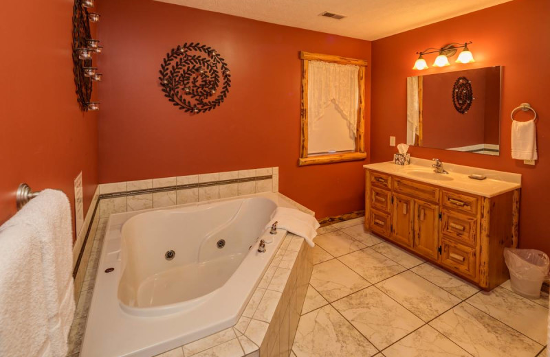 Guest bathroom at Sojourner's Lodge & Log Cabin Suites.