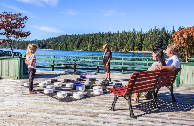 Giant chess at April Point Lodge and Fishing Resort.