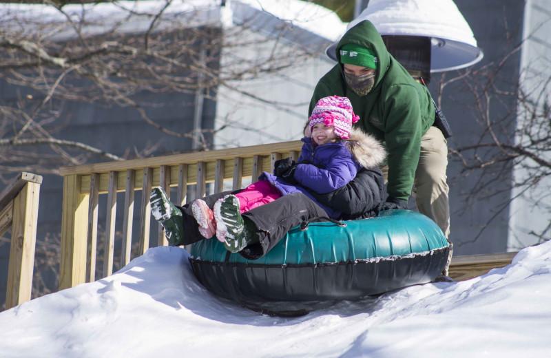 Snow tubing at Woodloch Resort.
