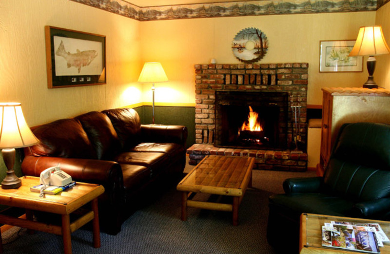 Cabin living room at Morrison's Rogue River Lodge.
