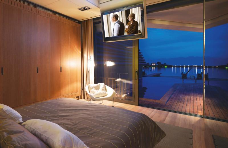 Guest room at Elounda Beach Hotel.