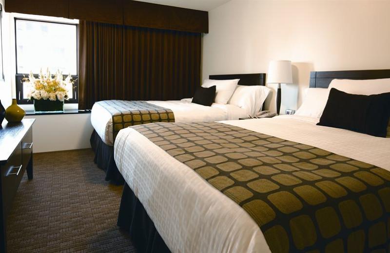 Guest room at Place Louis Riel Suite Hotel.
