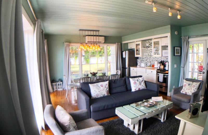 Rental living room kitchen at Sunset Beach Resort.