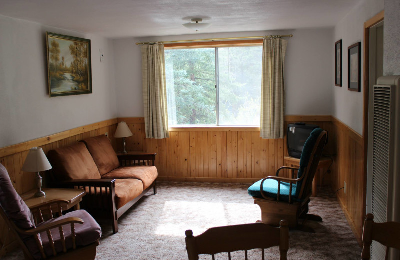 Cabin living room at Workshire Lodge.
